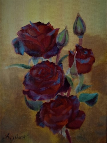 Branch of roses by Ageliki, 18X24cm, oil on canvas
